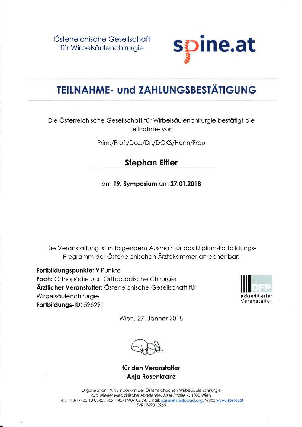 Wirbelsäulenkongress Wien, 2018