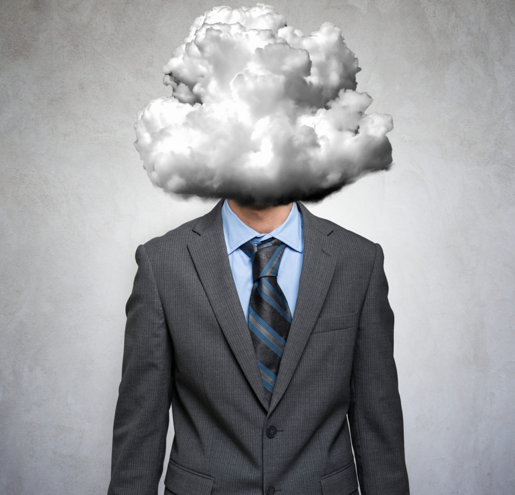Man with a cloud instead of his head