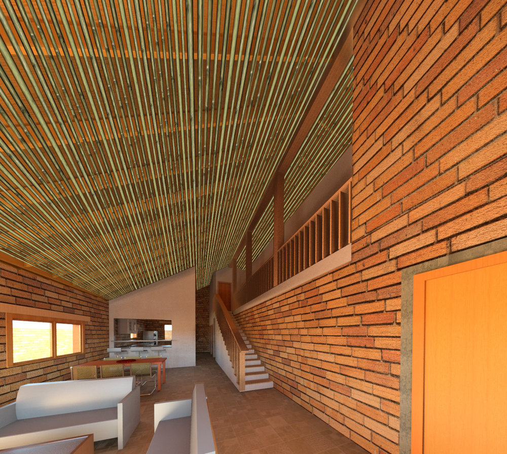 The interior allows for full connectivity between lower level spaces, and an open air transition from the bedrooms upstairs. The interior is celebrated with local bamboo, hardwoods, and exposed multi-colored earth blocks.