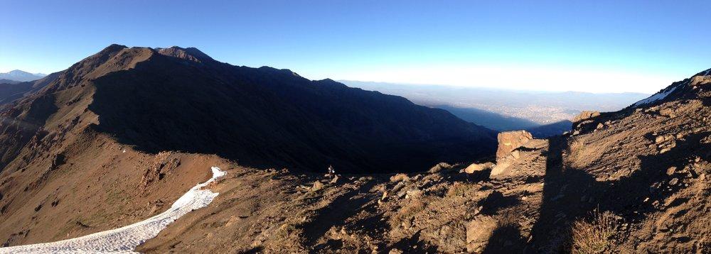 The View From Cerro Provincia of the Ridge running between Cerro San Ramon and Cerro Provincia with Cerro El Tambor at roughly the halfway point.