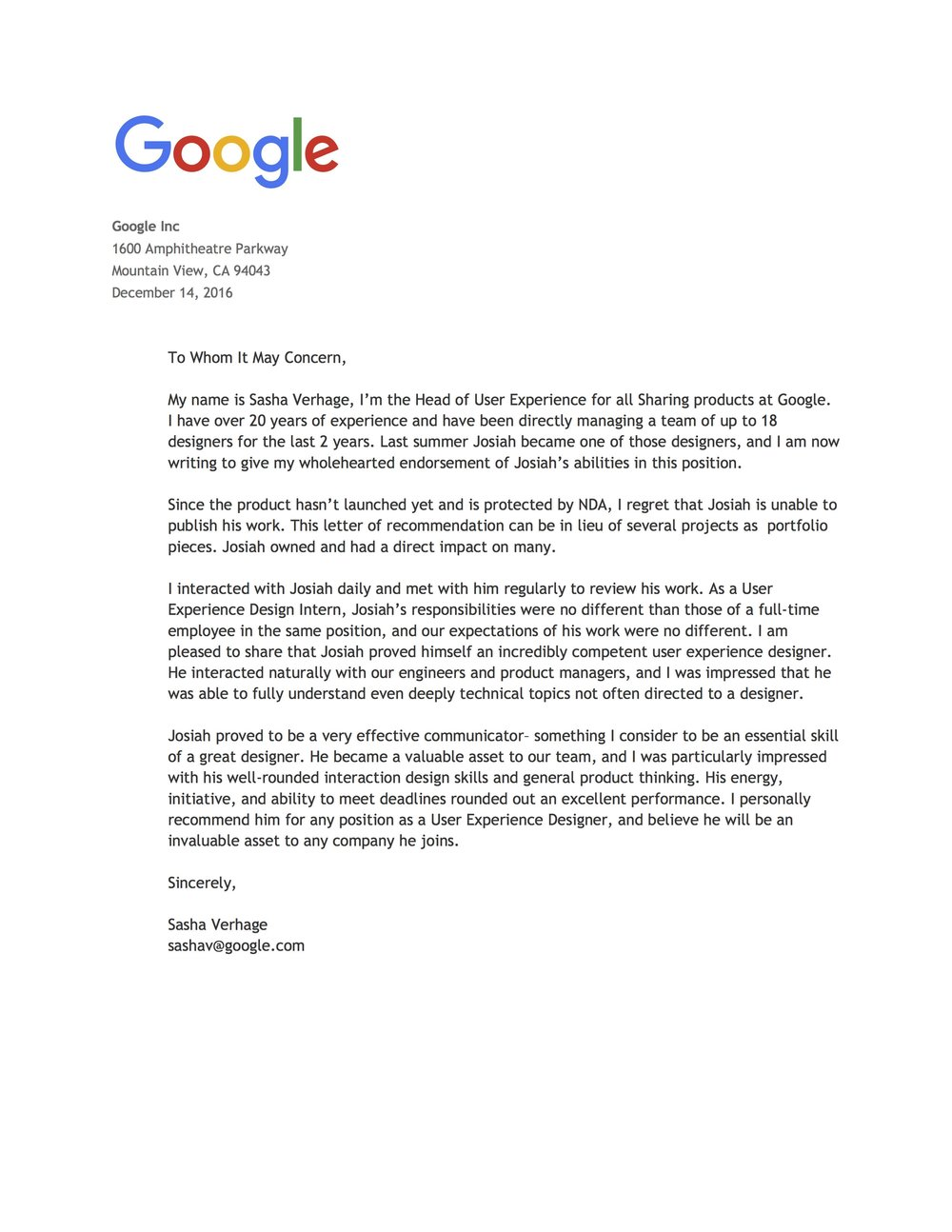 Letter of Recommendation from UX Director Sasha Verhage
