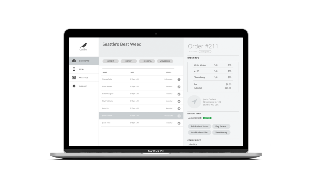 The Dashboard tab is the main functionality of the portal. Here, dispensaries receive new order updates and can view patient and courier information.