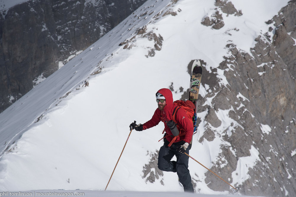 Skyler crushing it uphill - in this case he was bootpacking up hill in the Westcomb Switch Hoody.