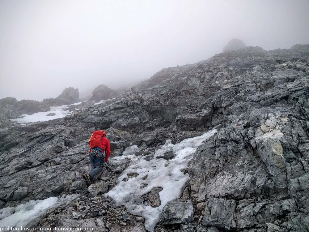 Freezing rain on Mount Assiniboine was just a joyous day. We were wearing waterproof breathable jackets to stay dry, but that meant our pace was determined by the speed we could go without sweating.