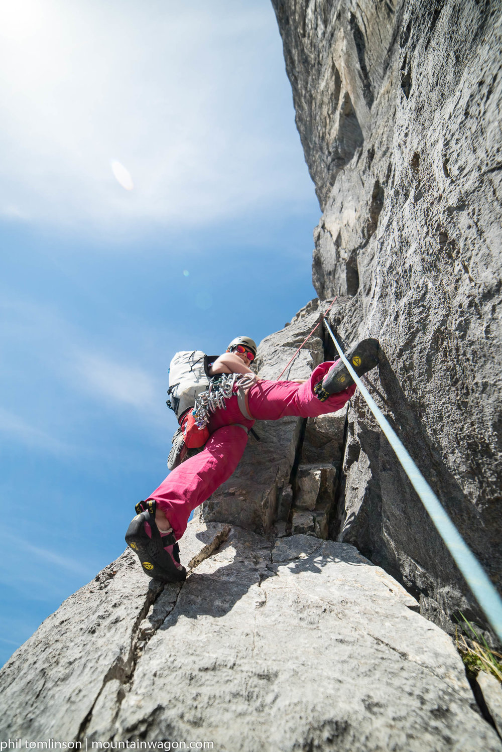 Marie-Eve climbed just above me, providing continuous encouragement and advice