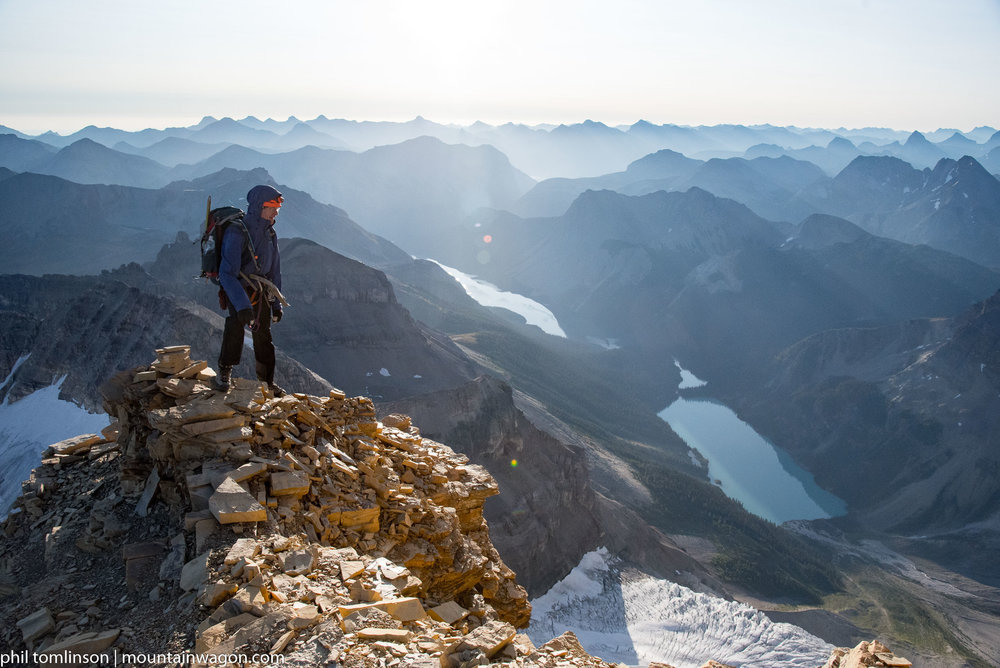 Enjoying the views from a flat spot on Assiniboine's North Ridge - this is about as beautiful as this planet gets