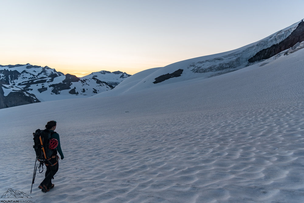 Marching across the Warren Glacier