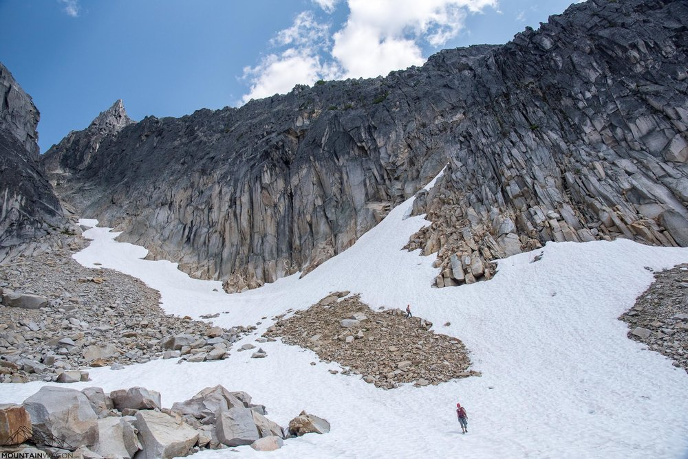 Descending the final snow slopes below the west ridge. The gully is the slash of snow heading up and to the right.