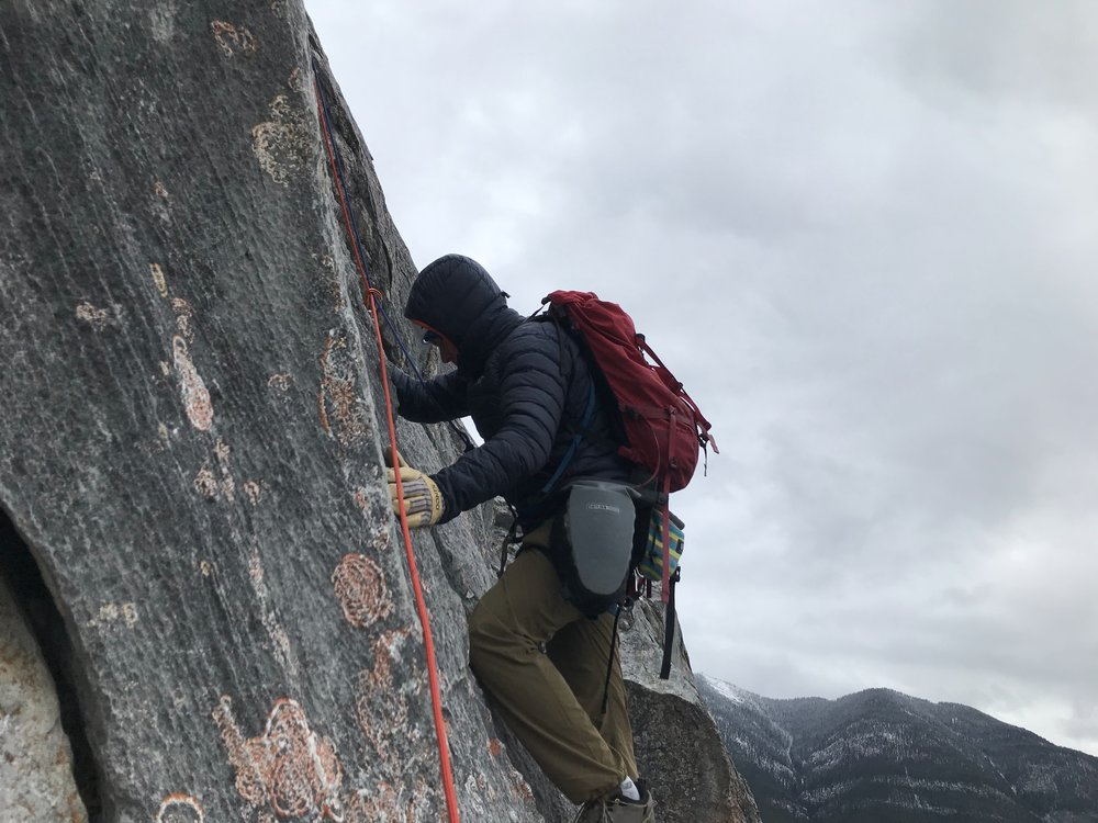 Climbing in insulated gloves definitely makes things more interesting. Photo: Chelsea Pasutto