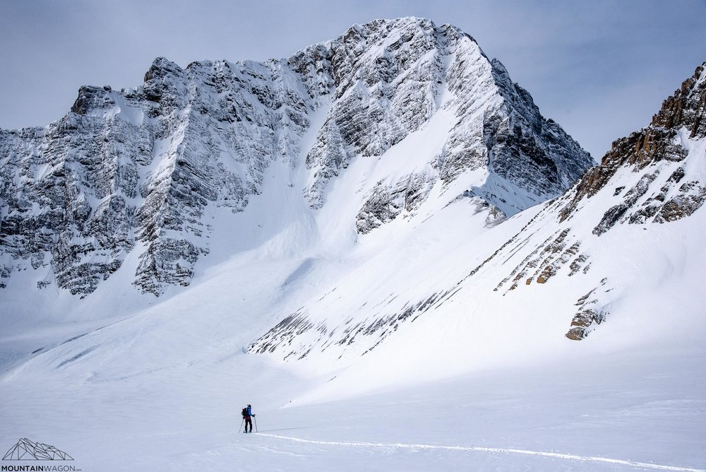 The infamous steep face separating the Haig Glacier from the Robertson Glacier