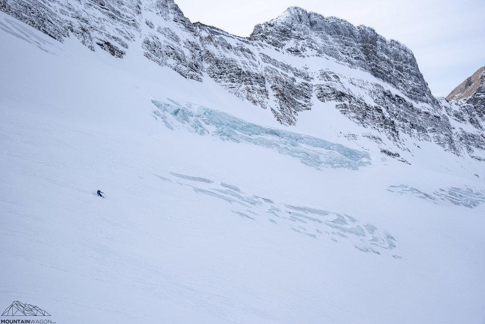 Don't ski into the bright blue holes
