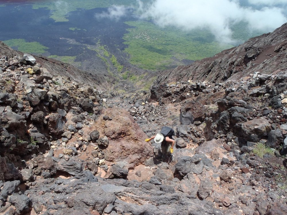 Momotombo Volcano is a traditional stratovolcano, a few hundred years old and ~1300 m tall (4,300 ft). We each the summit caldera by climbing up an old lava channel, which took about 3 hours (just as long coming down too!).