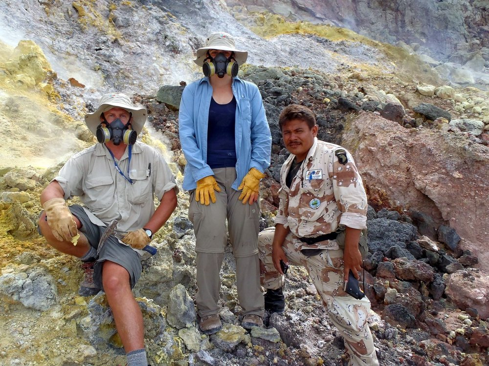 At the time we were there in 2012,the last major eruption of Momotombo had been in 1905. Despite the 100 year gap in eruption, the summit caldera was very active with some areas reaching 800°F and dense sulfur-gases.