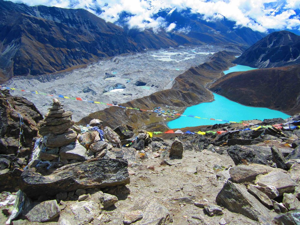 Looking towards the town of Gokyo, sacred third Gokyo Lake, and the Ngozumpa Glacier from the top of Gokyo Ri.