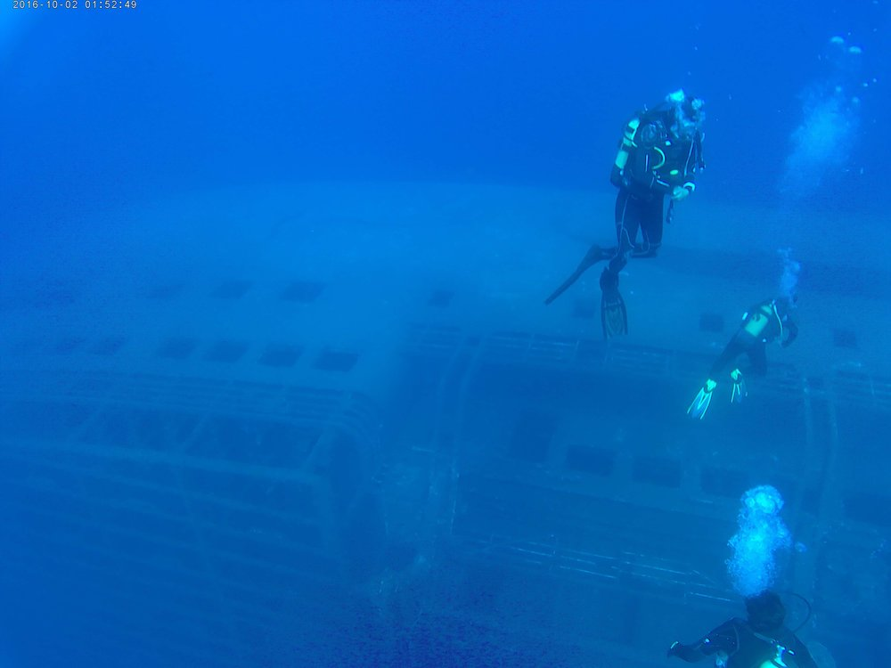 Deep drive to the Express Samina wreck off Paros, Greece.  Photo: S. Middleton