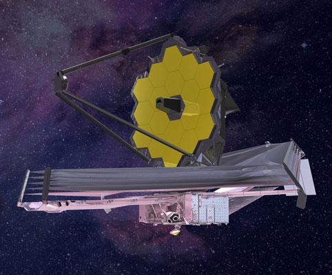 James Webb is the next space telescope to be launched and will complement Hubble visible cameras with infrared cameras and spectrometers.  Credit: Northrop Grumman