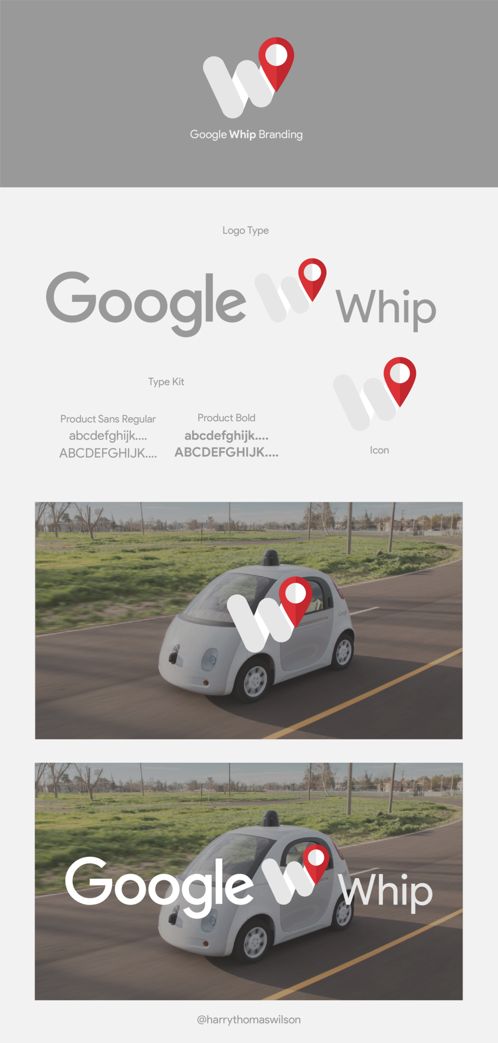 For this, I started to create an icon that represented getting to a destination as the google car is a self-driven car. For this a created a pic shape linked to 'w' form shape made from rounded rectangles to represent to road/ route to get to your destination.That fact that it was in a form of a 'w' was firstly a mistake but I realized that I could develop it to the first letter for a logo type, leading me to re-name the 'Google Car' to 'Google Whip'. To do the this I found the font that google uses (Product Sans) but looking at an  article  that google realized for their recent rebrand. I then used this to create the logotype.