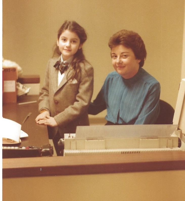 Me visiting my dad's Wall Street law firm in 1987, with my dad's secretary Annette and her enormous typewriter. I was even dressed like a boy to visit the office.