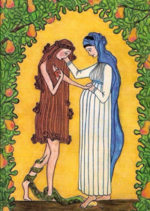 Painted by Sr. Grace Remington, it's titled  The Virgin Mary Consoles Eve.