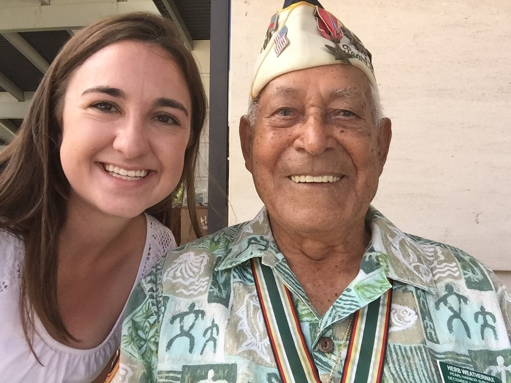 """Jenna with """"Uncle"""" Herb, a Survivor of Pearl Harbor who went on to serve in WWII on the battlefields in Europe, who she met in Hawaii at the Pearl Harbor Memorial."""
