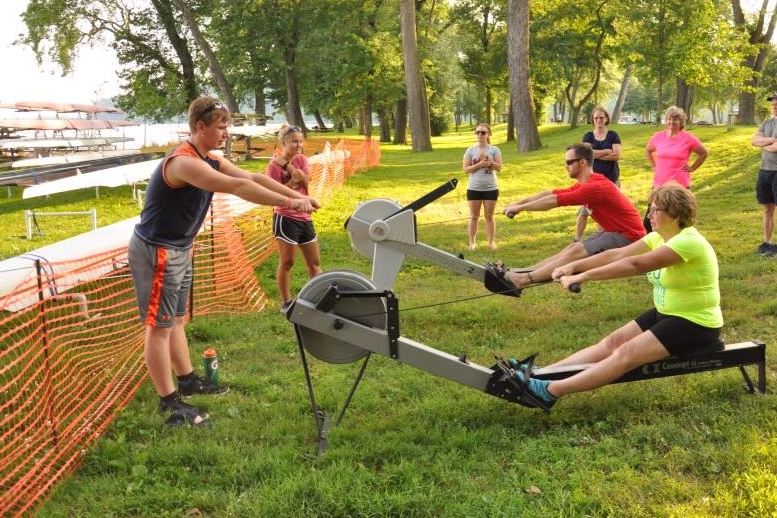 Before getting on the water, you learn the rowing technique on an Erg (ergometer, or indoor rowing machine)