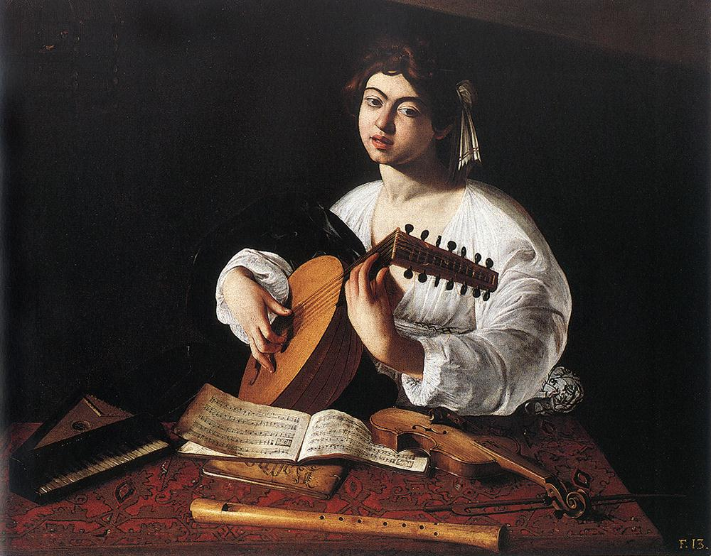 This painting by Renaissance artist Caravaggio depicts a lute player. That sheet music could easily have been written by Galileo's father. Credit: Wikipedia.