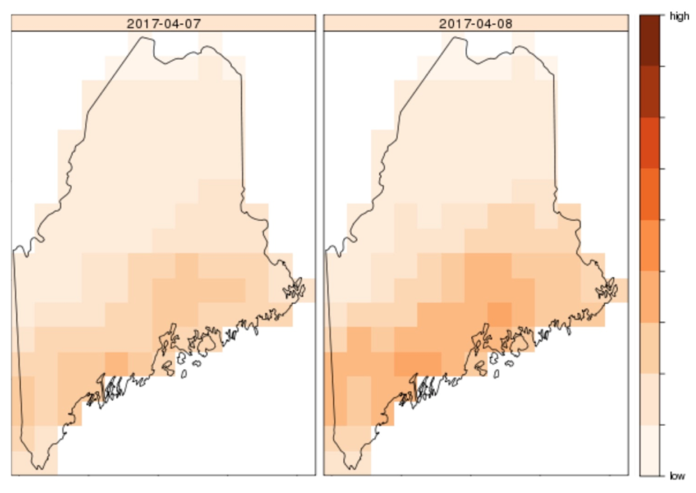 Likelihood of humans encountering ticks in the state of Maine for April 7-8, 2017. Credit: Dr. Nick Record.