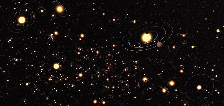 Artistic impression of solar systems in the Milky Way. Is life out there? Credit: ESO/M. Kommesser.