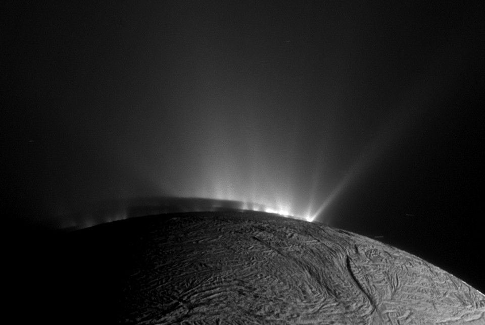 Icy geysers spew from Enceladus. Credit: Cassini Imaging Team.