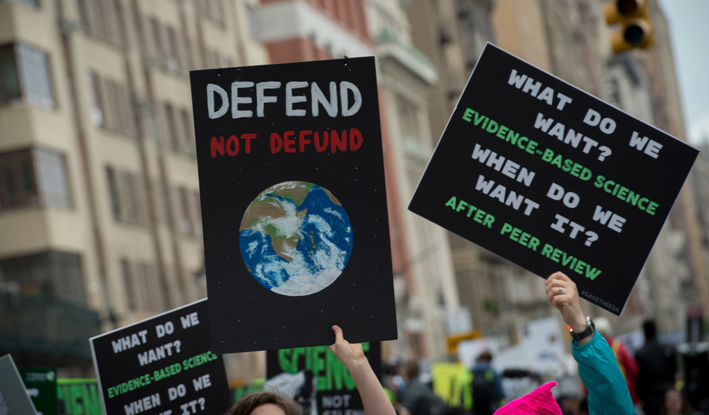 Signs at the NYC March for Science. Credit: Getty.