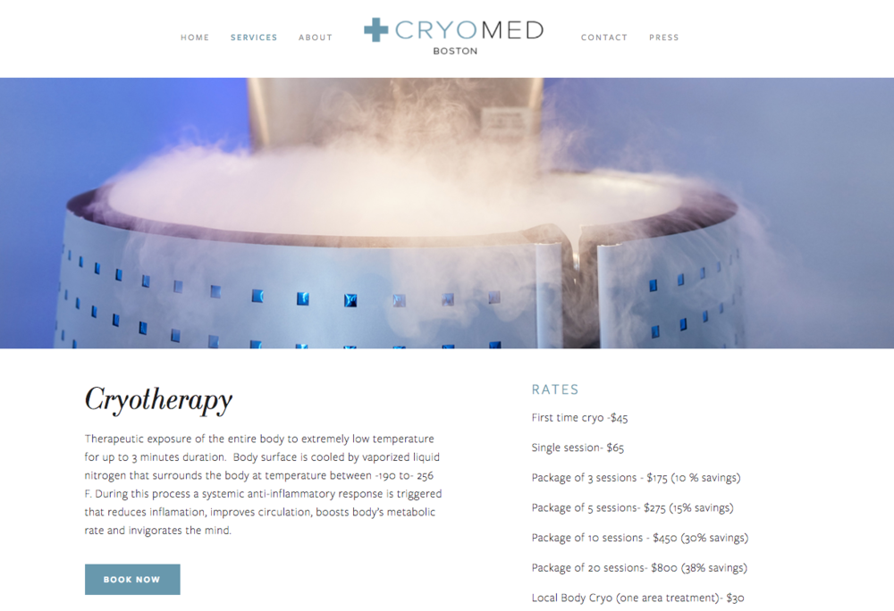 The Cryomed Boston website touts the health benefits of cryotherapy.
