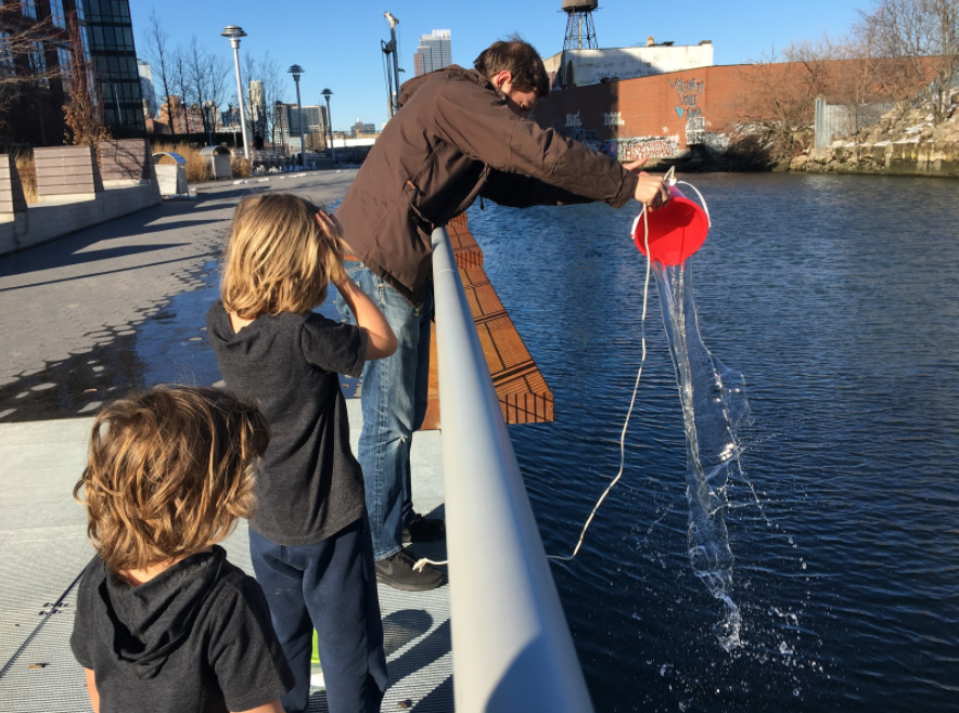 The team collecting samples from Gowanus Canal.Credit: Lauren Feeney.