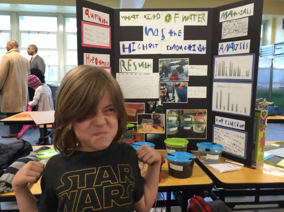 Declan presenting at the science fair. Also, happy Star Wars day!Credit: Cameron Hickey.