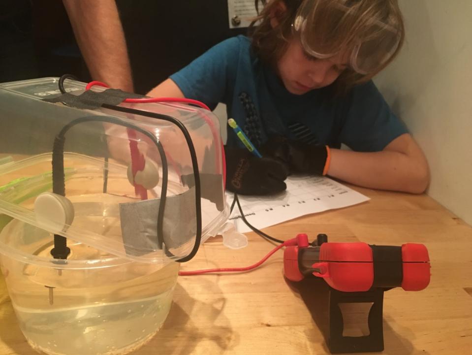 Declan taking down resistance measurements to convert to conductivity. Credit: Lauren Feeney.