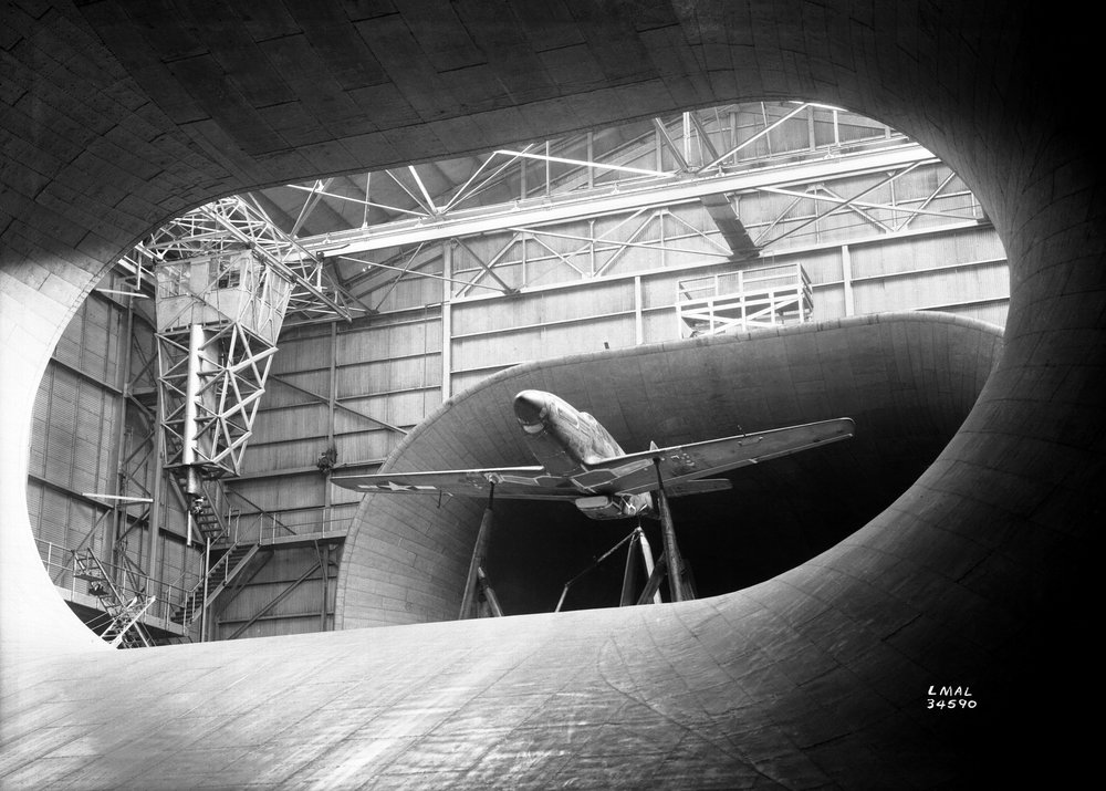 Caption: P-51 Mustang in Langley's Full Scale Tunnel, 1945. Credit: Wiki/NASA.