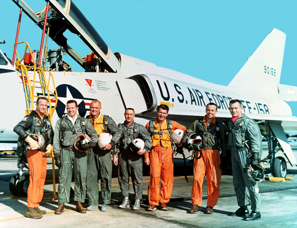 The Mercury Seven, who trained at Langley. Credit: NASA.