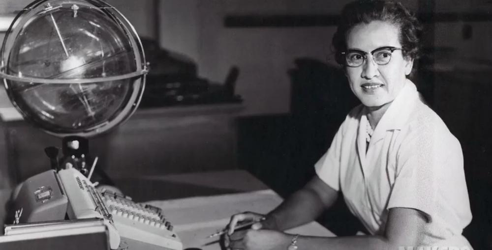Katherine Johnson at her desk at Langley. Credit: NASA.