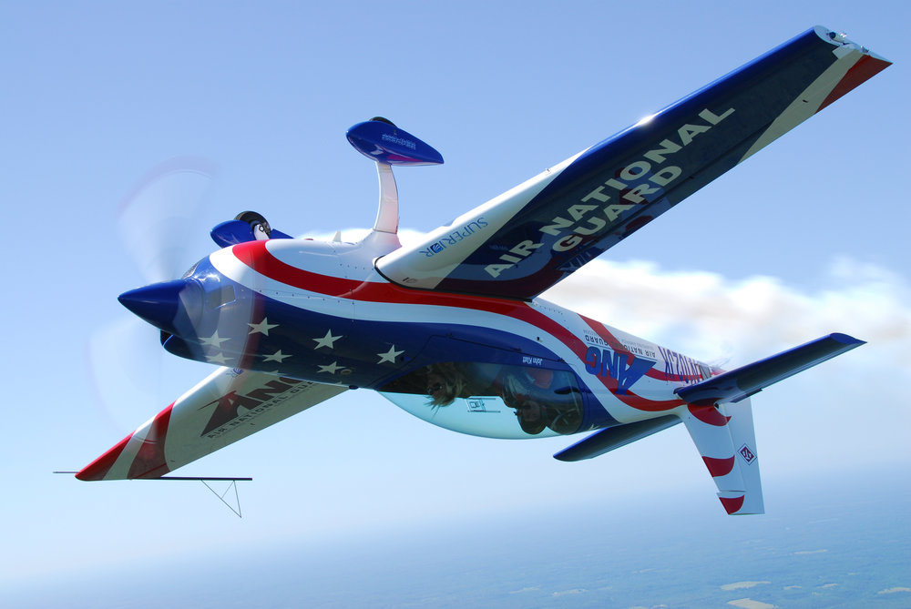 Aerobatic pilot flies upside-down. Notice the symmetrical airfoil as well! Credit: USAF.