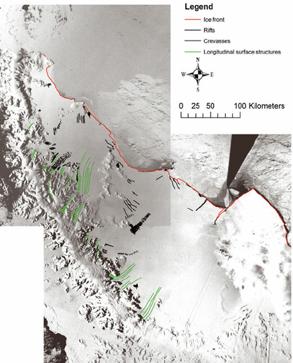 Satellite image of Larsen ice shelf, 1963. Much of the ice in the top left of the image is gone now. Credit: J. Glaciol.