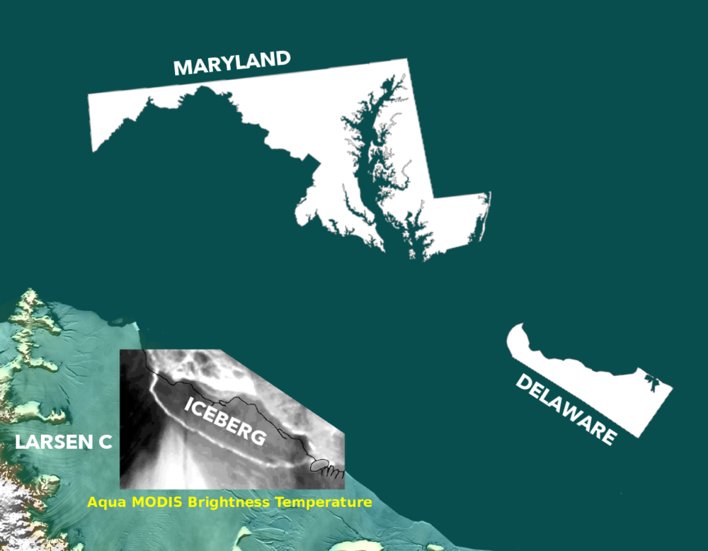If recent Larsen C iceberg is Delaware-sized, the largest ever recorded was Maryland-sized. Modified Project MIDAS image.