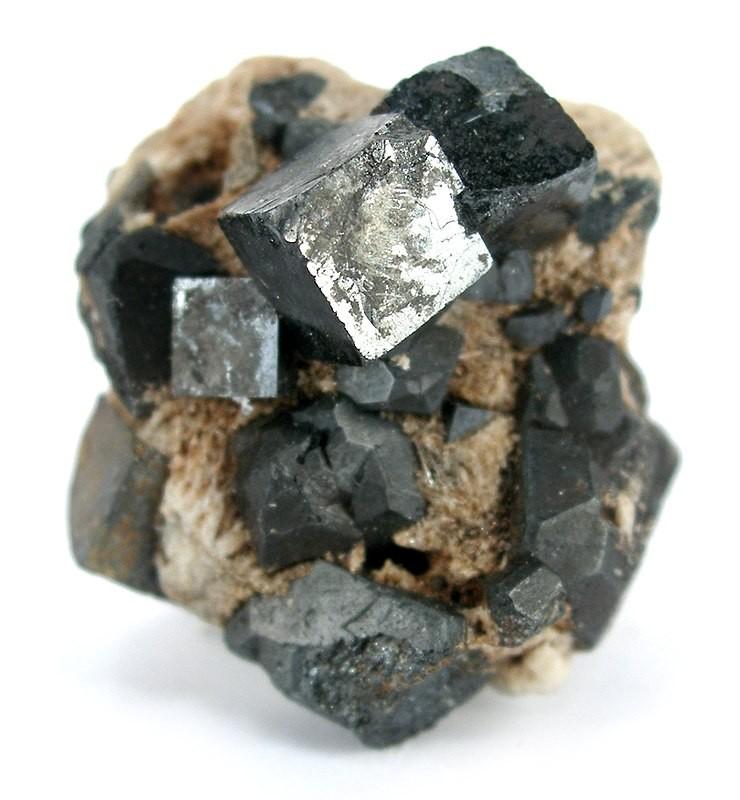 A sample of perovskite crystals. Credit: Wikimedia.