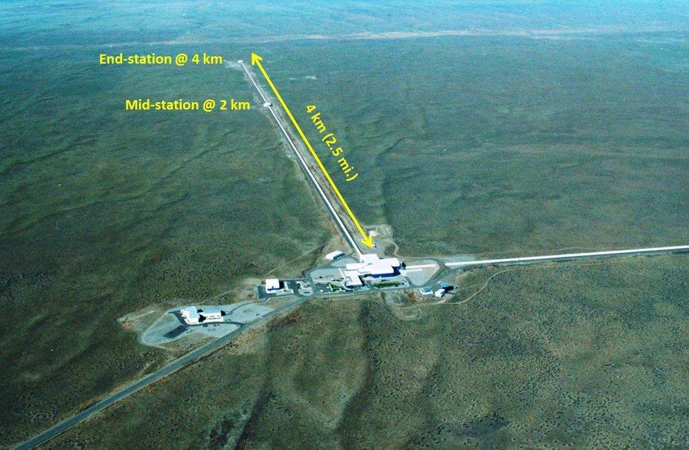 Aerial view of the LIGO interferometer at Hanford, Washington. Credit: Caltech/MIT/LIGO Lab.