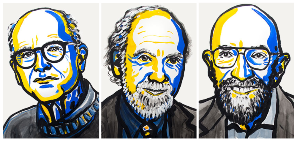 Left to right, Rainer Weiss, Barry C. Barish, and Kip S. Thorne. Credit: Nobel Media.