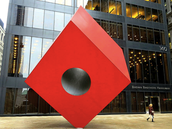 NYC Art Tour - Red Cube Sculpture