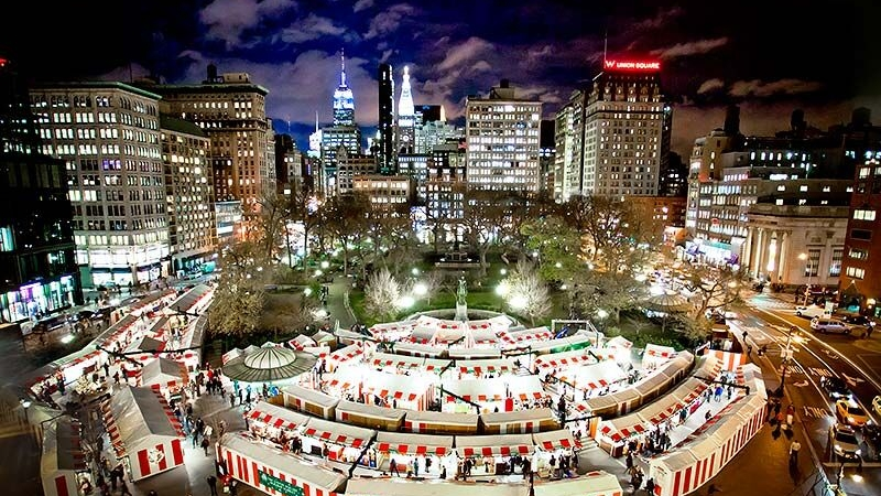 Union Square Holiday Market - Open from November 16. A must-visit destination for unique gifts created by local craftsmen and artists, millions of people browse the winding aisles each year enjoying this unique and eclectic holiday experience.
