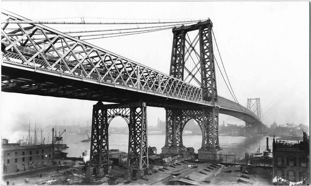 Manhattan_ low-angle shot of the Manhattan side of the Williamsburg Bridge, undated (ca. 1903). Under construction; nearly finished..jpg