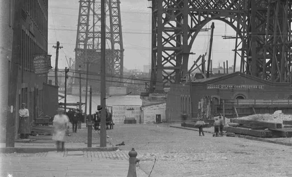 [New York City_ view of the base of the Williamsburg Bridge, under construction, undated.].jpg
