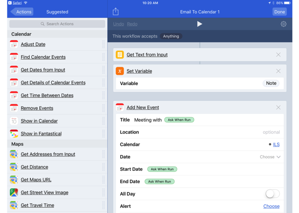 Workflow: email to calendar