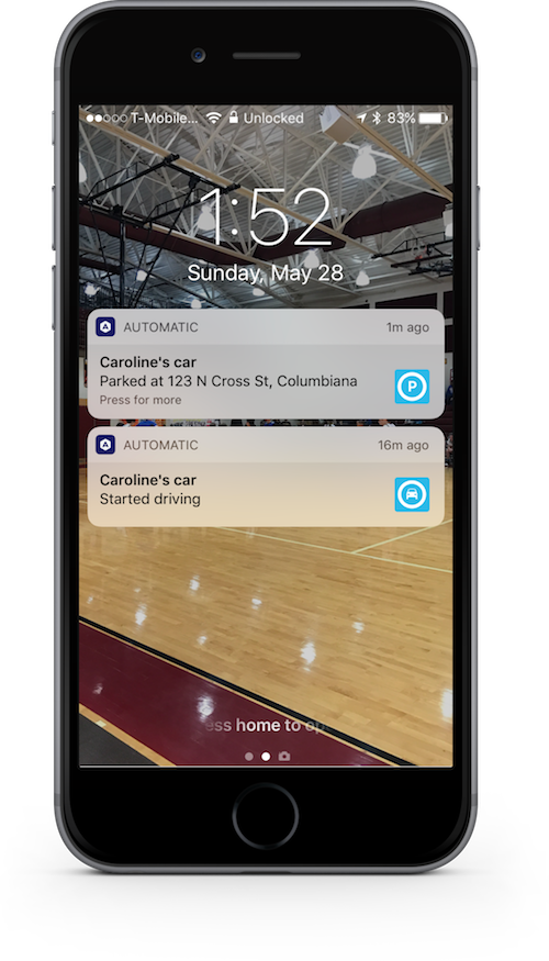 Push notifications from the Automatic Pro