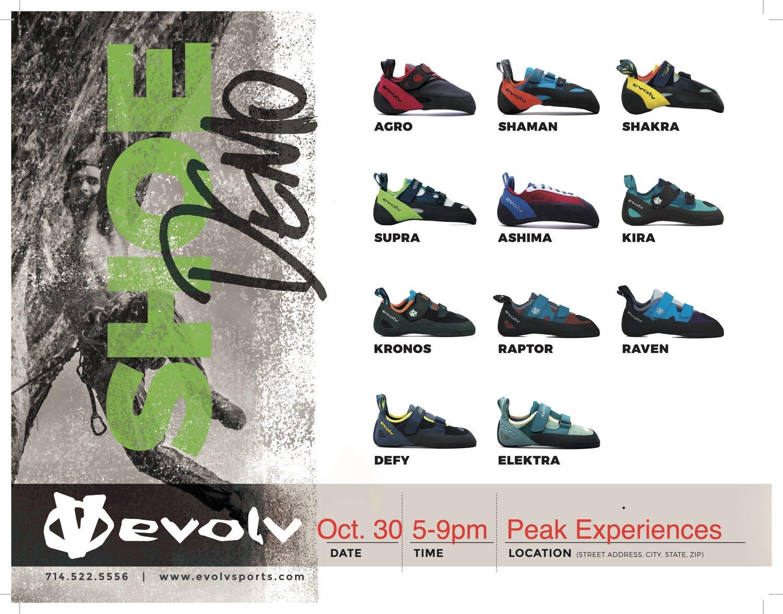 e6b51f0bc50 Evolv Shoe Demo - Oct. 30 5-9pm - SAVE 20% — Peak Experiences ...